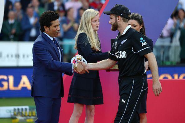 Sachin Tendulkar (left) and the captain of New Zealand Kane Williamson (right)
