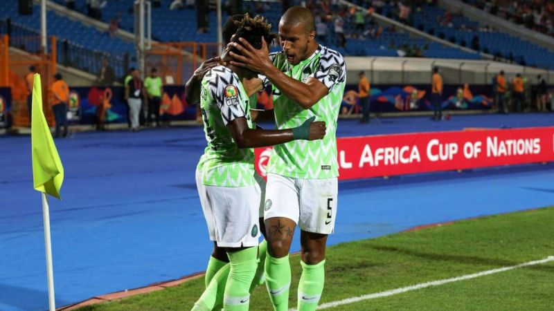 The Nigeria Super Eagles celebrate their first goal against the Bafana Bafana of South Africa