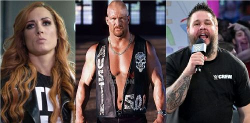 Becky Lynch, Austin, and Kevin Owens