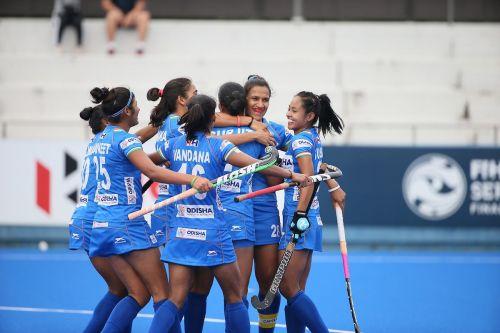 Indian Women's Hockey team celebrate scoring a goal in FIH Women's Series Finals Hiroshima 2019