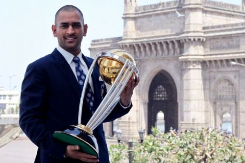 MS Dhoni with 2011 ICC World Cup trophy