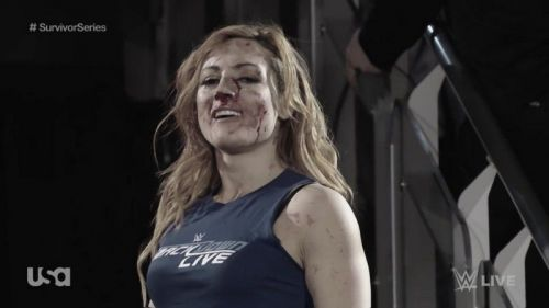 Becky Lynch after leading an invasion on Raw