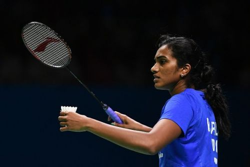 PV Sindhu in action .