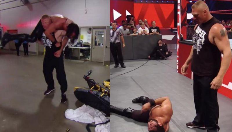 रॉ के इस हफ्ते के एपिसोड में लैसनर ने सैथ रॉलिंस को बुरी तरह से पीटा