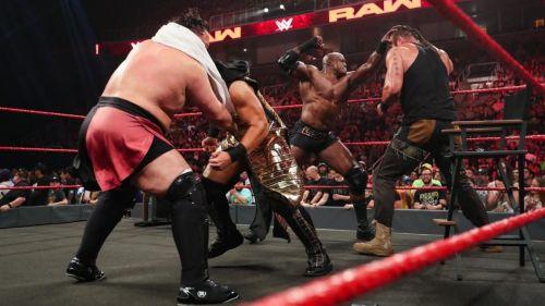 Braun Strowman prior to a six-man tag team match
