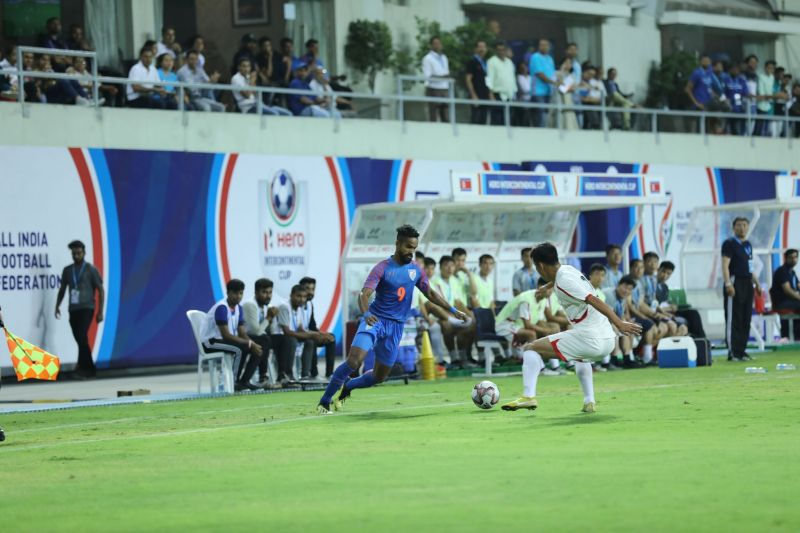 Jobby Justin in action for India against DPR Korea in Intercontinental Cup