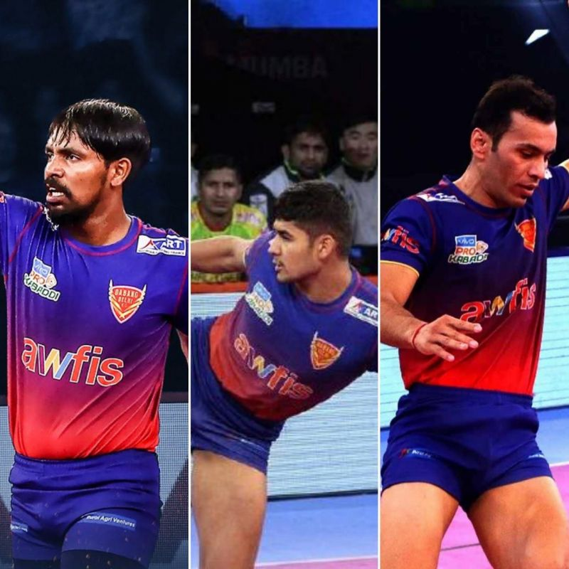 The trio of Chandran, Naveen, and Meraj scored 419 raid points together for Dabang Delhi K.C.