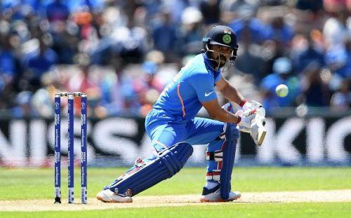 Kedar Jadhav in action in India v Afghanistan - ICC Cricket World Cup 2019