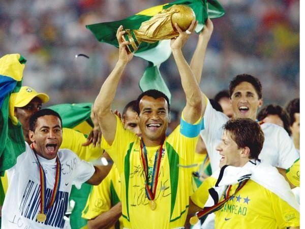 Cafu with the 2002 FIFA World Cup title