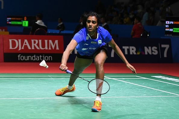 PV Sindhu in action at the Indonesia Open on Wednesday
