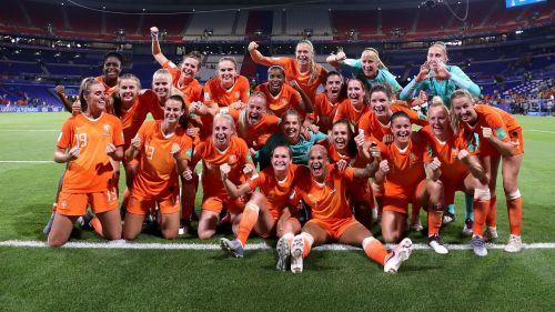 Netherlands' players celebrate their win