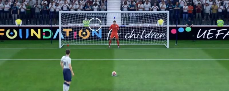 A penalty kick in FIFA 20