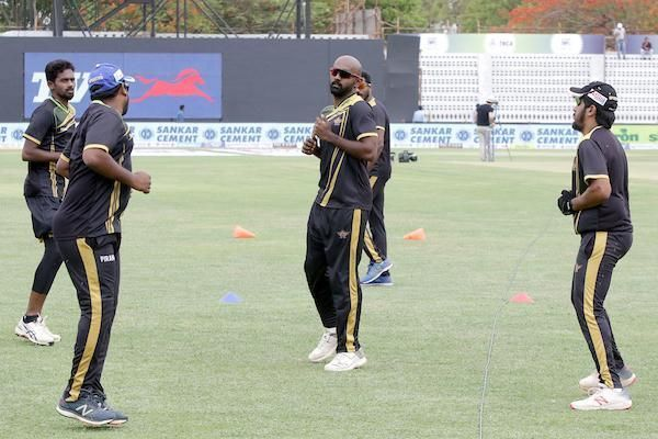 Tuti Patriots team in practice session ahead of their clash against VB Kanchi Veerans in Sankar Cements TNPL 2019 at the ICL- Sankar Nagar Ground, Tirunelveli
