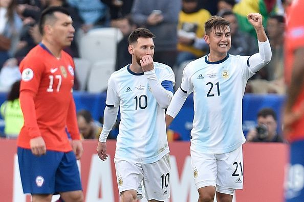 Paulo Dybala and Lionel Messi in action for Argentina