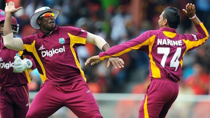 Narine, Pollard celebrate a wicket
