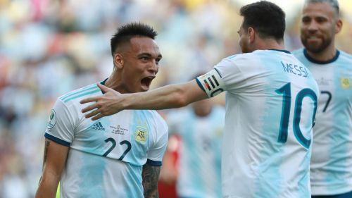 Lautaro Martinez and Lionel Messi