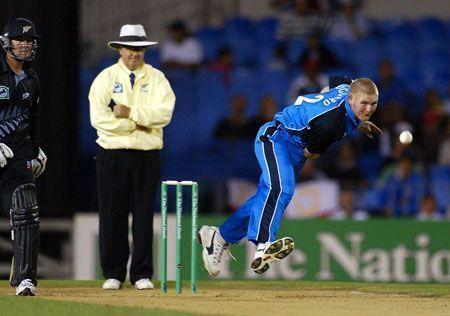 Matthew Hoggard against New Zealand at Auckland in 2002