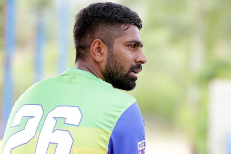 Lyca Kovai Kings skipper Abhinav Mukund in practice ahead of their clash against Tuti Patriots in Sankar Cement TNPL 2019 in NPR college cricket ground, Dindigul