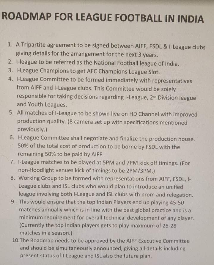 The joint statement issued by the I-League clubs