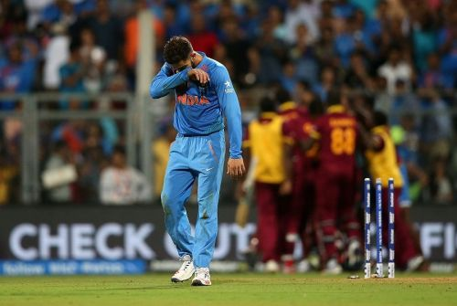 Indian batsman Virat Kohli looking dejected following India's defeat against West Indies