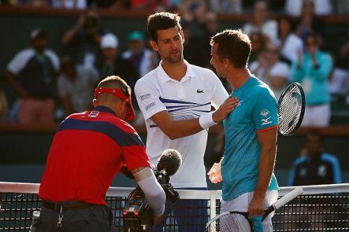 Novak Djokovic(L) and Philipp Kohlschreiber