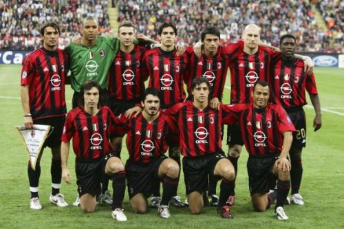 The legendary team of AC Milan in its traditional red and black