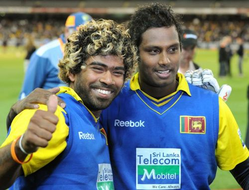 Malinga (R) and Mathews (L) put on a record-breaking partnership for the ninth wicket