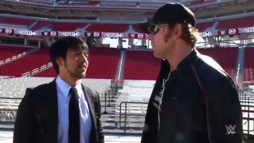 KENTA (left) with Jon Moxley (right) during their time in WWE