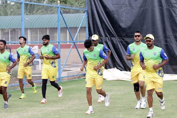 Lyca Kovai Kings team in practice session ahead of their clash against Ruby Trichy Warriors in the ICL- Sankar Nagar Cricket Ground, Tirunelveli