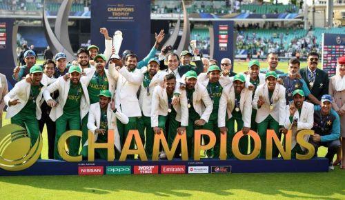 Pakistan team celebrating their 2017 ICC Champions Trophy triumph