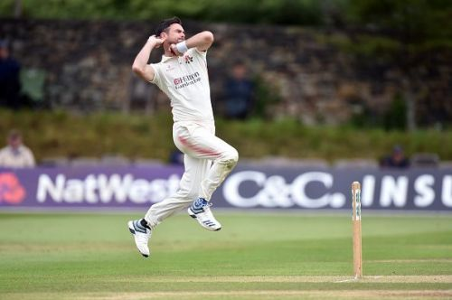 James Anderson in action during a county match