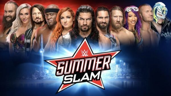 Sasha Banks, along with the returning Rey Mysterio and Randy Ordon on the SummerSlam advertisement