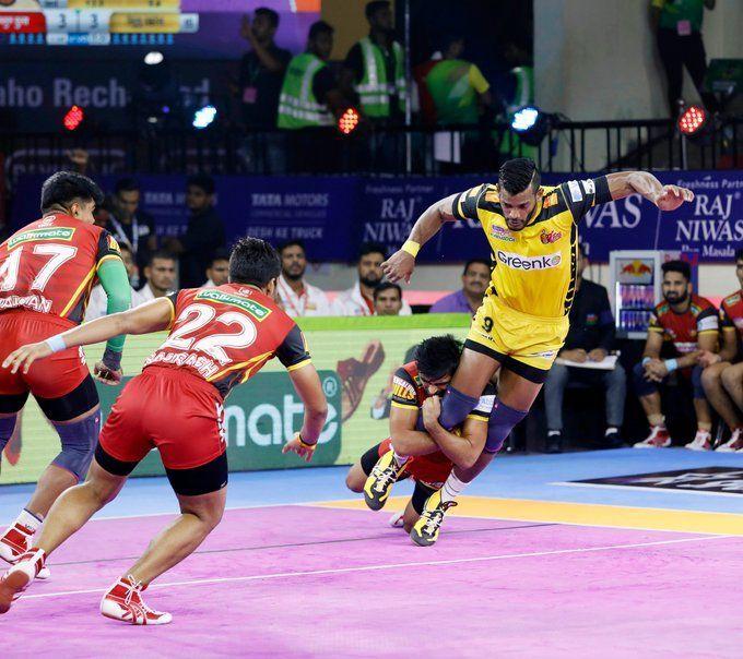 Bengaluru Bulls demolished Telugu Titans with an immaculate game