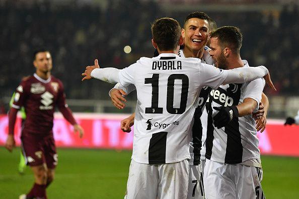Cristiano Ronaldo celebrates after scoring Juventus