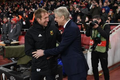 Graham Potter (left), Arsene Wenger (right) during 2017/18 Europa League Round of 32 tie