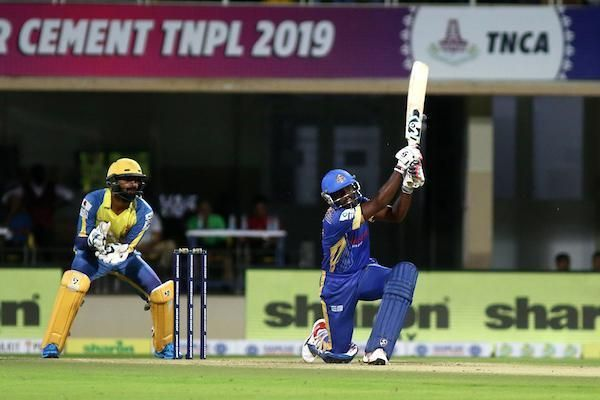 Sarath Raj A of Siechem Madurai Panthers scored 32 runs off 23 balls against Dindigul Dragons in the qualifier game 2 in the Sankar Cement TNPL 2019 at the NPR College Cricket Ground, Natham, Dindigul