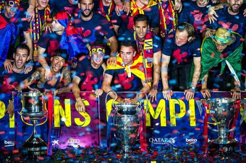 Barcelona rejoice after their win in 2015