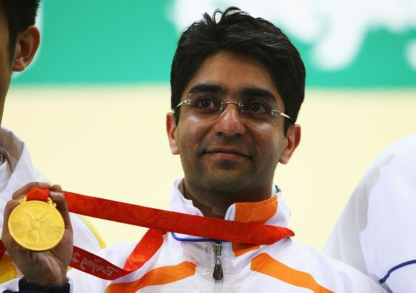 Abhinav Bindra after winning the gold medal at the Mens 10m Air Rifle event, in Beijing 2008.