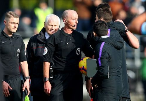 Spurs boss Mauricio Pochettino has a history with Mike Dean, who will take charge of Sunday's game