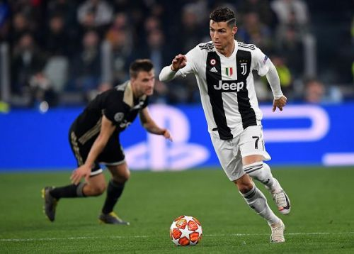 Cristiano Ronaldo in Champions League action for Juventus