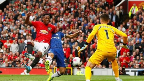 Anthony Martial scores United's second goal of the game