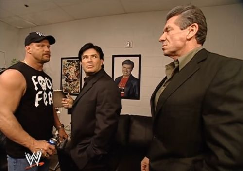 Stone Cold Steve Austin with Eric Bischoff and Vince McMahon