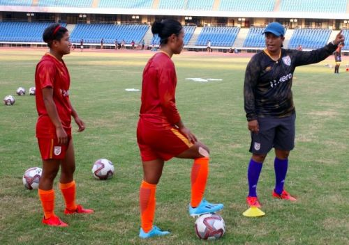 Indian women's team coach Maymol Rocky in training