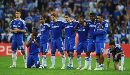 Chelsea players during the 2012 Champions League penalty-shootout against Bayern Munich