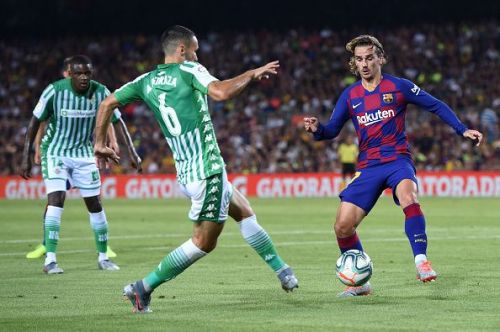 Antoine Griezmann  in action against Real Betis