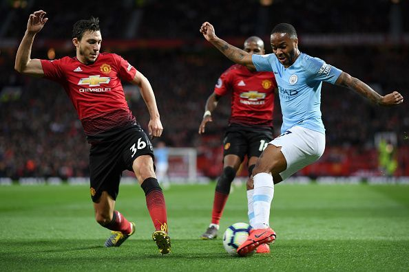 Matteo Darmian in action against Manchester City