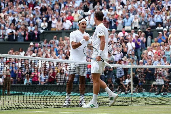 In his 100th match at Wimbledon, Federer beat Berdych in the 2017 semifinals