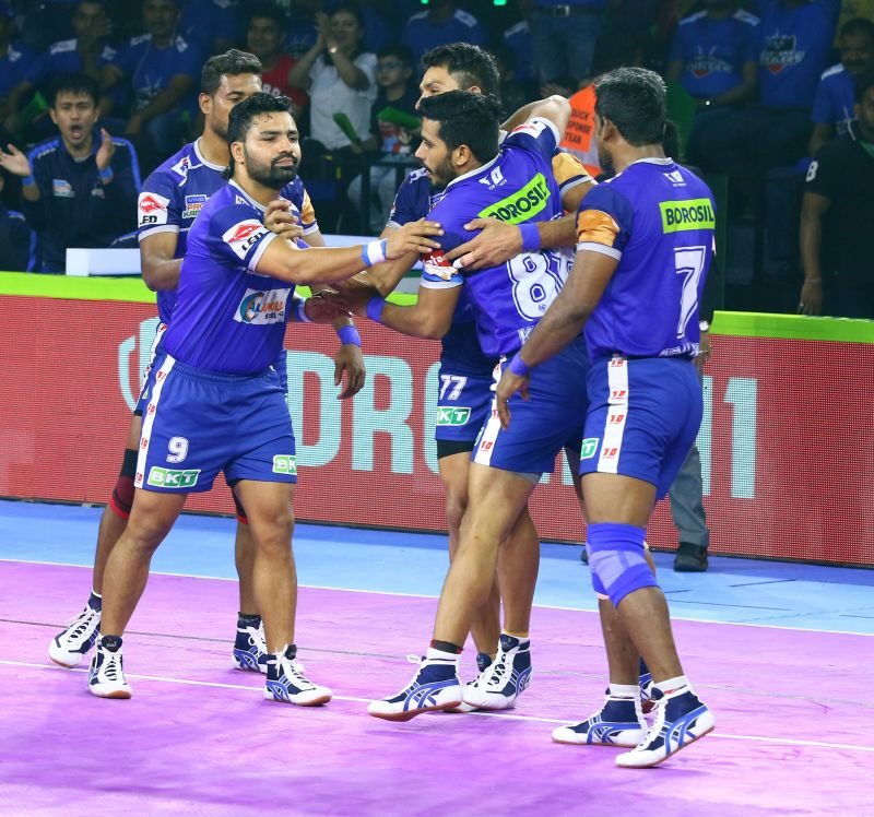 The Haryana Steelers player celebrate during a PKL match