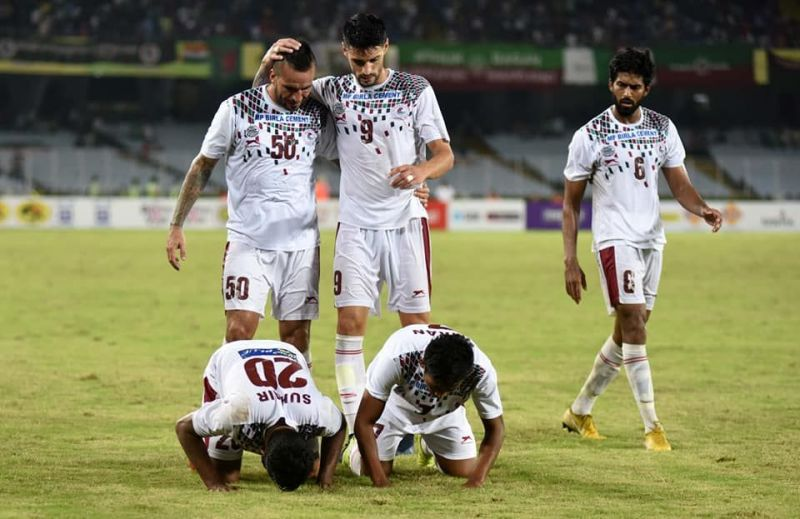 Mohun Bagan strikers celebrating a goal in semi-final