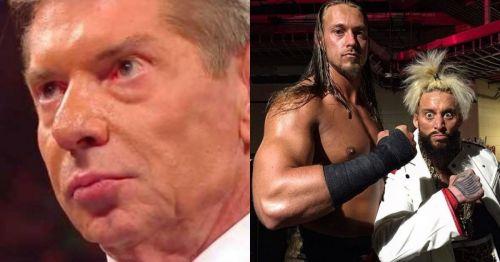 Vince McMahon, Big Cass and Enzo Amore.